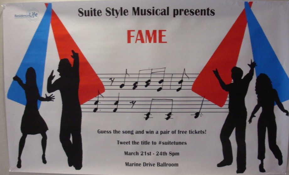 A poster with sheet music saying that you can win tickets by guessing the song.