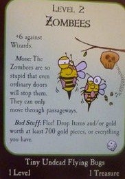 A zombie bee card from the game Munchkin.