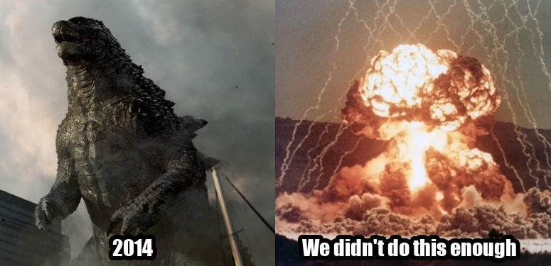 Meme showing that Godzilla 2014 portrays nukes positively.