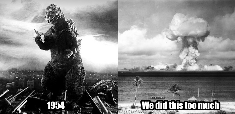 Meme showing that Godzilla 1954 portrays nukes negatively.